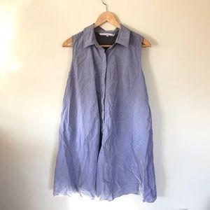 Rachel Roy Blue Gray Button Down Shirtdress